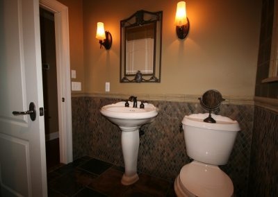 Rhomboid Mosaic Bathroom Wainscot and Honed Slate floor